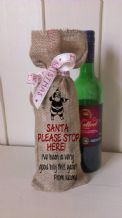 Personalized Santa Stop Here wine Father Christmas Xmas Santa Sack / Stocking Bag Jute Hessian